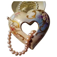 Limoges Hand Painted Jeweled Heart Shaped Flower Trinket Box Jar