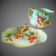 Limoges Hand Painted Strawberry Tray Dish, Artist Signed