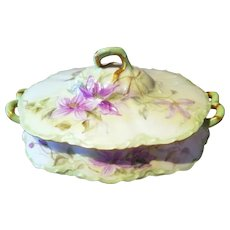 Haviland Limoges Hand Painted Tureen Covered Serving Bowl Dish