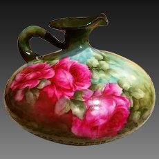 Limoges Hand Painted Squat Rose Pitcher,Artist Signed Masterpiece