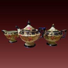 Nippon  Cobalt Jeweled Hand Painted Rose Tea Pot Set