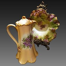 Haviland Limoges Hand Painted Violet Chocolate Coffee Pot, Artist Signed