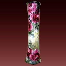 P.H. Leonard  Austria Limoges Hand Painted Rose Vase , Masterpiece,Ca 1889-1907