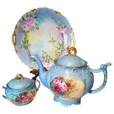 Large Limoges Hand Painted Rose Tea Pot /Sugar Bowl Set,Artist Signed, Dated 1905