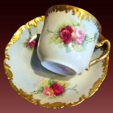 Limoges Hand Painted Rose Cup & Saucer Set ,Artist Signed