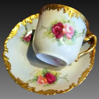 Limoges Hand Painted Rose Cup & Saucer Set ,Artist Signed