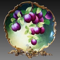 """Limoges Hand Painted Fruit Plum Charger,Artist Signed """"A.Bronssillon"""""""