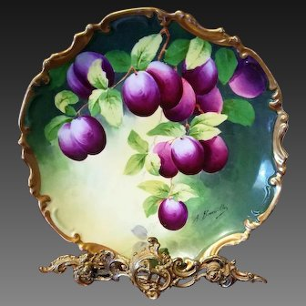 "Limoges Hand Painted Fruit Plum Charger,Artist Signed ""A.Bronssillon"""