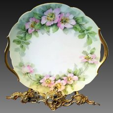 Limoges Hand Painted Wild Rose charger Cake Plate