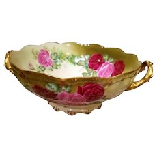 """Limoges Hand Painted Punch Bowl Centerpiece,French Artist Signed """"Leroy"""""""