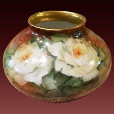 Limoges Hand Painted Squat  Rose Vase,  Masterpiece,Artist Signed