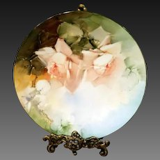 Limoges Hand Painted Rose Plate, Masterpiece, Artist Signed
