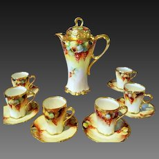 Limoges Hand Painted Chocolate Pot Set,  Pickard Master Artist Signed M. Rost LeRoy
