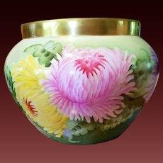 Large Limoges Hand Painted Mum Jardiniere Pot, Artist Signed