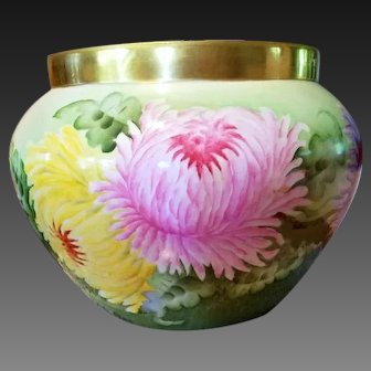Large Limoges Hand Painted Mum Jardiniere Pot, Artist Signed