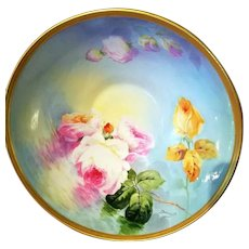 "Limoges Hand Painted Reflecting Water Master Bowl, Listed Artist Signed, ""Duval"""