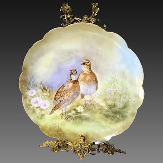 """14"""" Limoges Hand Painted  Bird Game Charger ,Artist Signed"""