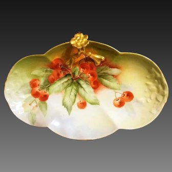 Limoges Hand Painted Cherry Tray Dish, Artist Signed