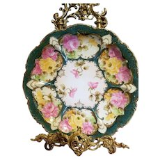 "12"" Nippon Hand Painted Rose Charger"