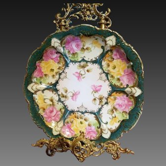 """12"""" Nippon Hand Painted Rose Charger"""
