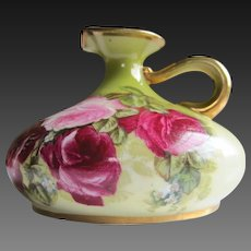 "Royal Austria Hand Painted Rose Squat  Pitcher Vase, Artist Signed ""Jann"""