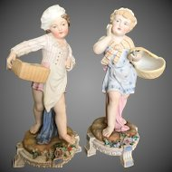 Large Pair German Bisque Figure Group Figurine, Ca Early 1900's