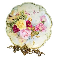 "13"" Limoges Hand Painted Rose Charger"