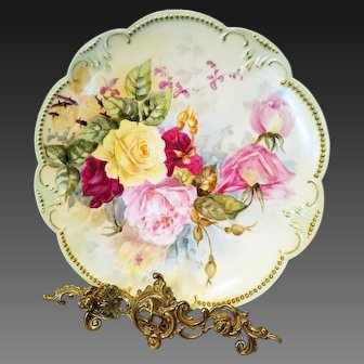 """13"""" Limoges Hand Painted Rose Charger"""