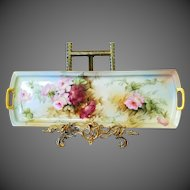 """19"""" Magnificent Austria Hand Painted by Ester Miler Rose Tray Platter, Ca Early 1900's"""