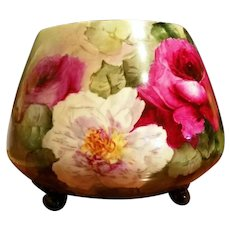 Limoges Hand Painted Rose Jardiniere Pot
