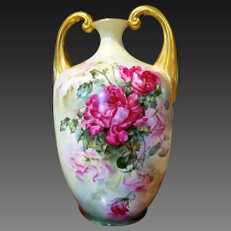Large Limoges Hand Painted Rose Muscle Vase, Artist Signed