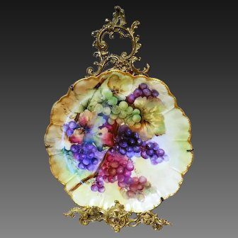 Large  Limoges Haviland Hand Painted Grape Charger Wall Plaque