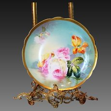 """Limoges Hand Painted Reflecting Waters Rose Plate Plaque , Signed """"Duval"""""""