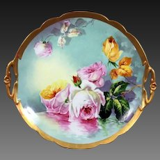 """Large Limoges Hand Painted  Reflecting Waters Rose Cake Plate,Charger,Master Artist Signed """"Duval"""""""