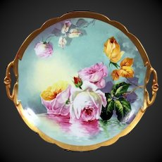 "Large Limoges Hand Painted  Reflecting Waters Rose Cake Plate,Charger,Master Artist Signed ""Duval"""