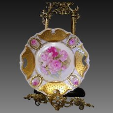 Vintage E.S Germany Jeweled  Rose Cake Plate Charger