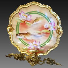 Limoges Hand Painted Fish Plate