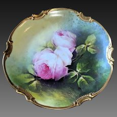 Limoges Hand Painted Rose Plaque Charger Plate,  French Artist Signed Masterpiece