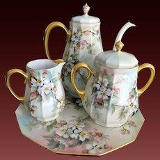 """Large Limoges Coffee Tea Rose Pot/Creamer/Sugar /Tray Set, Master Artist Signed """"Ester Miler"""""""