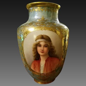 "Exceptionally Large Dresden Hand Painted Portrait Vase, Artist signed,""Wagner"""