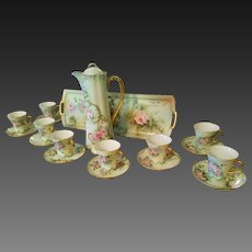 Continental Hand Painted Chocolate Pot /8 Cup/8 Saucer Set,Artist Signed