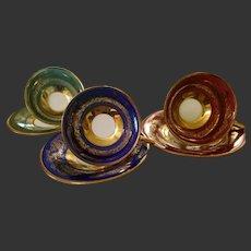 Vintage Bavaria 3 Gold Footed Cup 3 Saucer Set