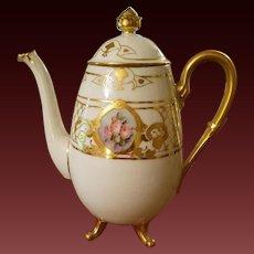 Vintage hand Painted Bavaria  Hand Painted Footed Rose Tea Coffee Pot