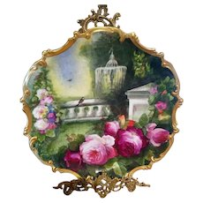 "16"" Limoges Hand Painted  Rose  Wall Plaque Charger, Artist Signed"