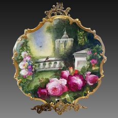 """16"""" Limoges Hand Painted  Rose  Wall Plaque Charger, Artist Signed"""