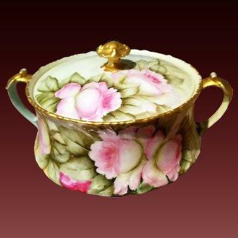Limoges T&V  Hand Painted  Large Rose Bisquit  Cracker Jar, Master Artist Miler