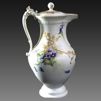 Large Limoges Hand Painted Violet Chocolate Pot