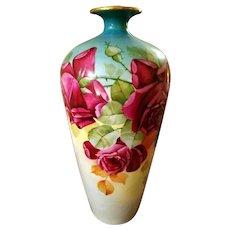 Large Limoges Hand Painted Rose Vase