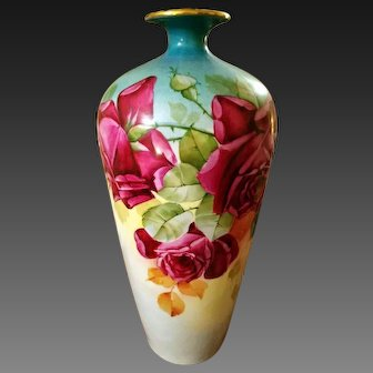 Large Limoges Hand Painted Rose Vase