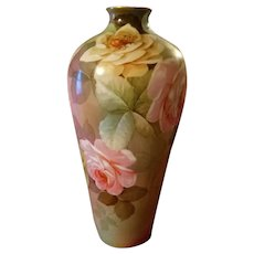 Large Ginori Italy Hand Painted  Rose Vase, Artist signed